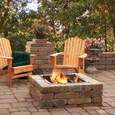 Anchor Rumbled Wall Universal Block w Firepit